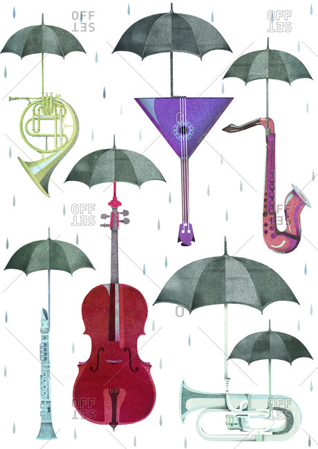 Illustration of various instruments each with umbrella