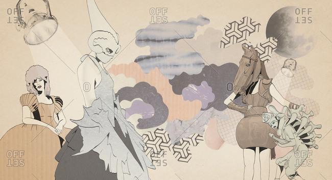 Illustration of women in various fantastic costumes