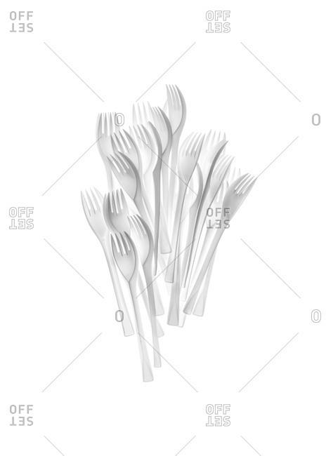 Studio shot of plastic forks