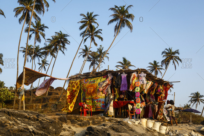 Goa,India - April 4, 2013: Shack selling beachwear at Vagator beach
