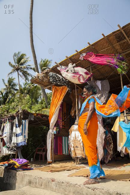 Goa,India - March 29, 2013: Local beachwear shop at Ashvem Beach