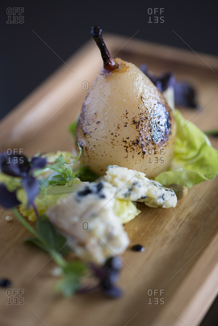Pear and blue cheese dessert from a fine dining restaurant