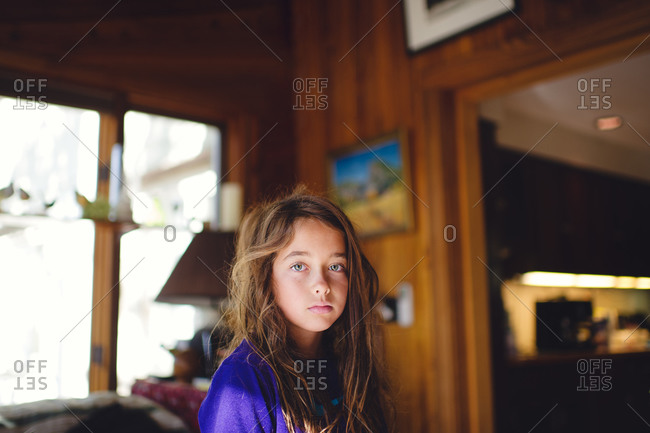 Portrait of young girl just awake in early morning