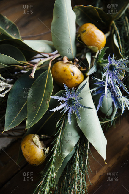 Wreath made with persimmon and sea holly