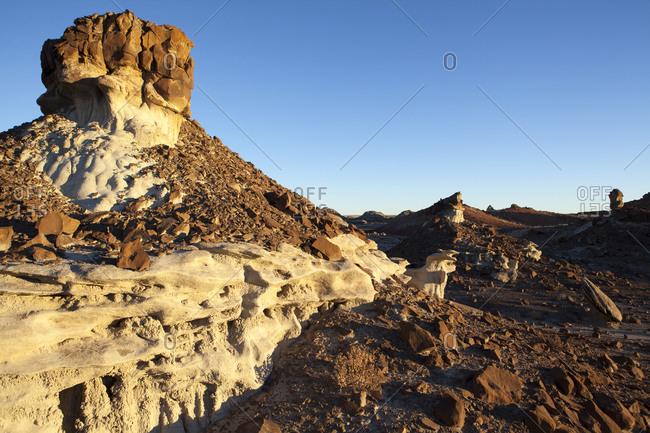 Rocky towers overlooking desert landscape