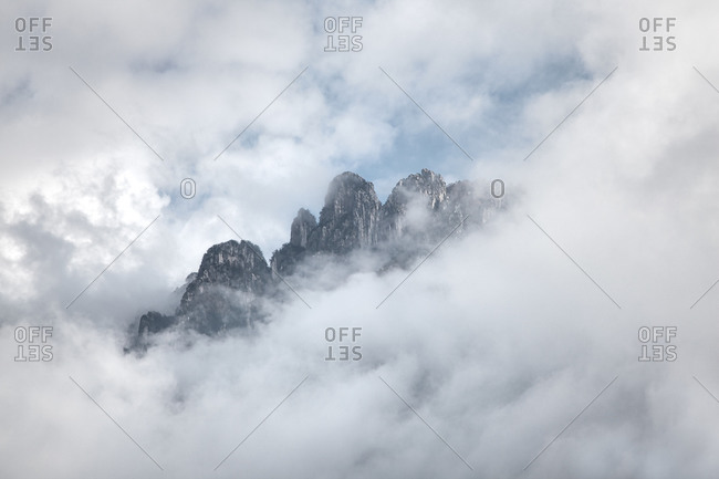 Foggy view of Mountain Denti della Vecchia, Switzerland