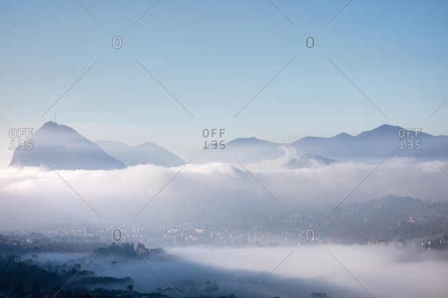 View of Lugano and Monte San Salvatore, Ticino, Switzerland