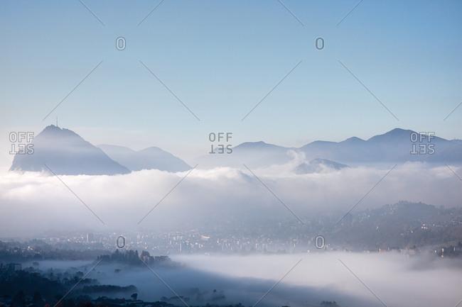 View of Lugano and Monte San Salvatore, Ticino, Switzerland