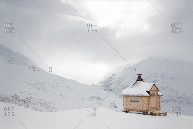 View of the Swiss Alps from Natschen, Andermatt in a blizzard
