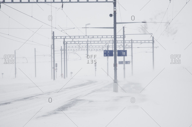 Railway tracks in a blizzard, Oberalppass, Switzerland
