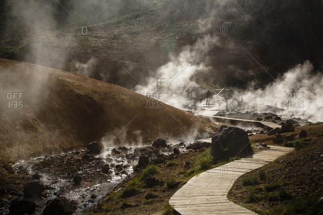 A trail through geothermal fields at Krysuvik, Reykjanes Peninsula, Iceland