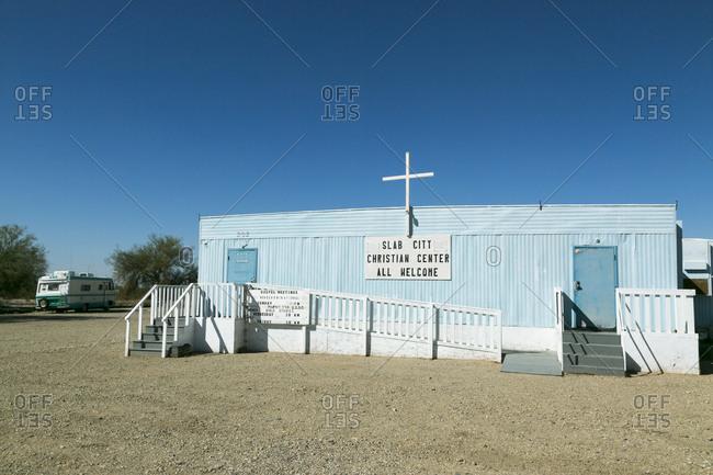 Salton Sea, California, USA - February 4, 2015: Slab City Christian Center church
