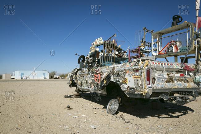 Salton Sea, California, USA - February 4, 2015: Trash-decorated truck at Slab City