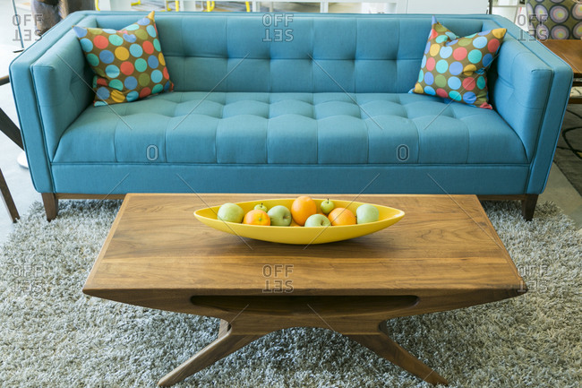 Retro-styled couch and coffee table