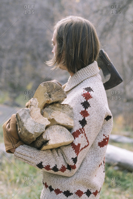 Man carrying firewood - Offset Collection