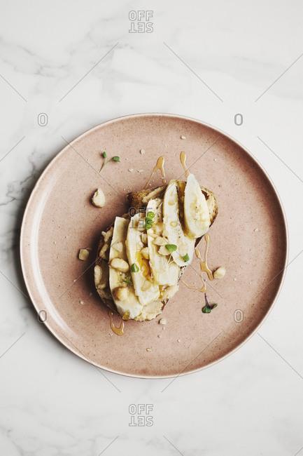 Macadamia butter and banana on toast