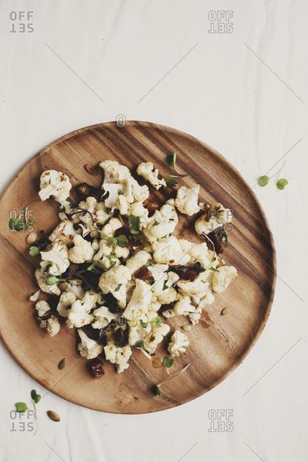 Roasted cauliflower salad with dates and pepitas