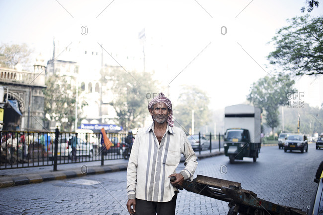 Mumbai, India - February 8, 2015: Portrait of a Dabbawallah, a delivery man