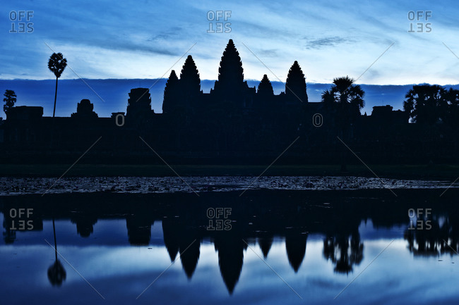 Silhouette of Angkor Wat Temple at dusk