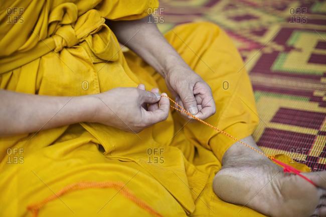 Portrait of a weaving monk