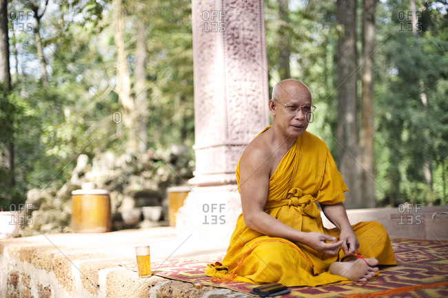 Siem Reap, Cambodia - December 19, 2014: Portrait of a Buddhist monk