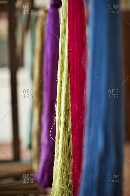 Close up of colorful silk threads
