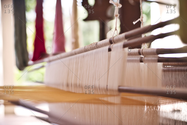 Close up of a weaving loom