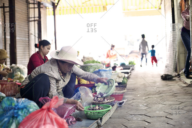 Siem Reap, Cambodia - December 21, 2014: Woman putting fish into a basket at a market