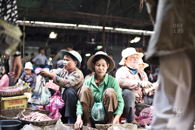 Siem Reap, Cambodia - December 21, 2014: People selling fish at a market