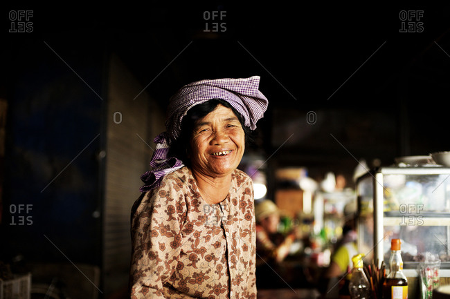 Siem Reap, Cambodia - December 21, 2014: Portrait of an elderly woman