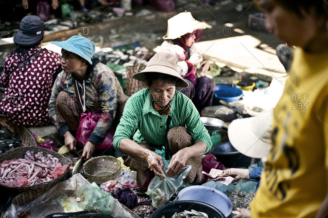 Siem Reap, Cambodia - December 22, 2014: Woman packaging fish at a market