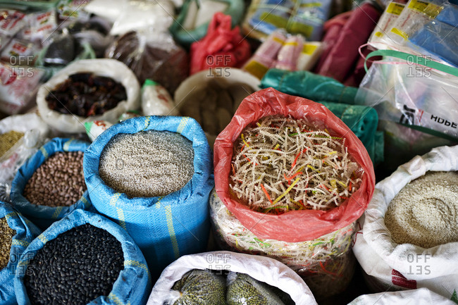 Seeds in sacks at a market