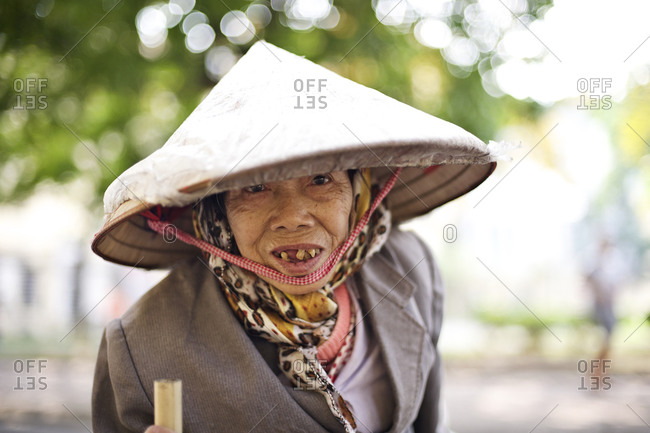 Hanoi, Vietnam - December 28, 2014: Portrait of an elderly woman