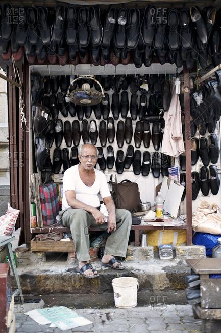 Mumbai, India - February 7, 2015: Portrait of a shoemaker