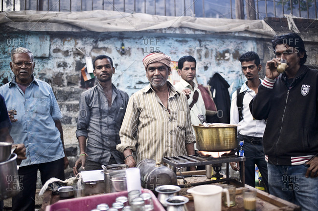 Mumbai, India - February 8, 2015: Tea vendor selling masala chai