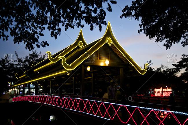 Luminous Asian bridge at dusk