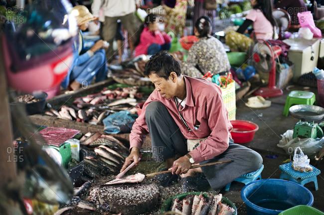 Siem Reap, Cambodia - December 22, 2014: Man preparing fish at a market