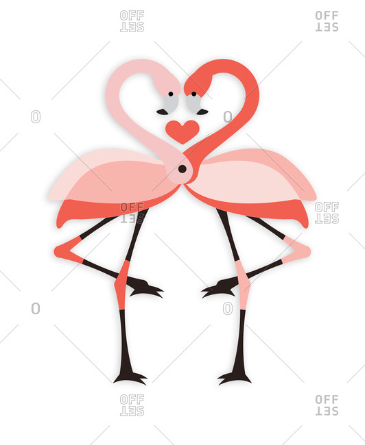 Pair of flamingos forming a heart shape