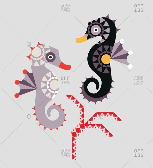 Geometric seahorses near a stylized plant