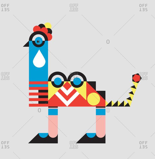 A geometric shape fantasy creature combining a bird's head on a camel's body