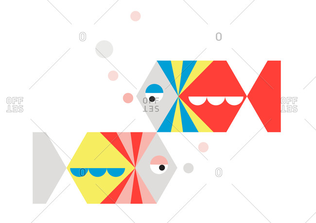 Two geometric fish on a white background