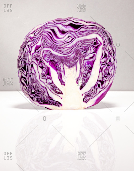 Red cabbage chopped in half