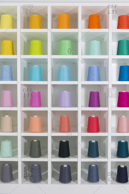 Large spools of brightly colored thread