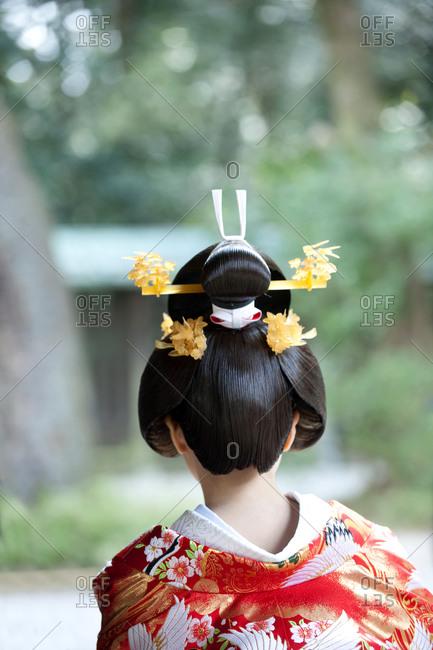 Back of bride's head at Meiji Shrine in Shibuya, Tokyo, Japan