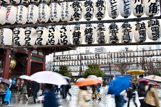 Toyko, Japan - March 31, 2012: Senso-ji Buddhist temple in rain