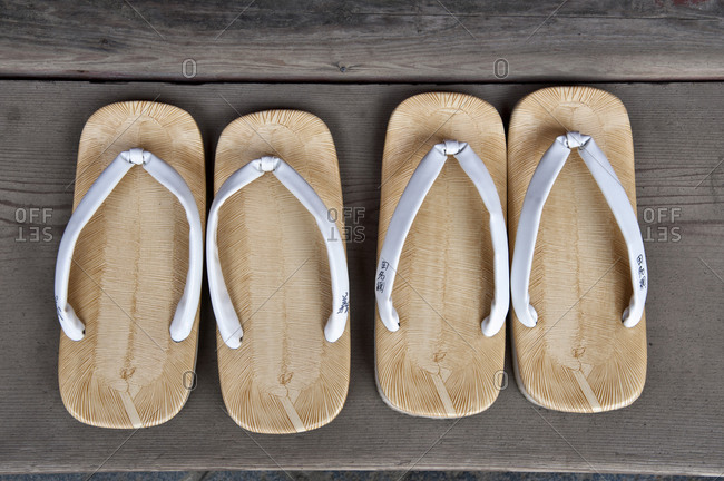 Traditional sandals at a Shinto shrine in Nikko, Japan