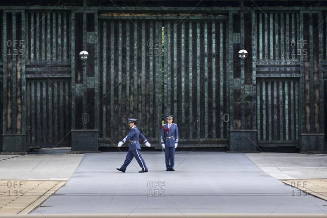 Tokoyo, Japan - July 1, 2014: Guards at Imperial Palace, Tokyo