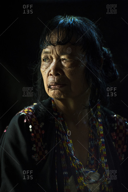 Mindanao, Philippines - June 6, 2014: Mansaka woman with chewing tobacco