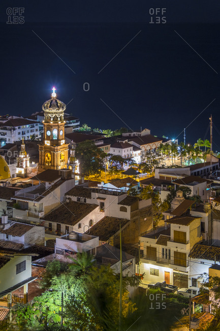Downtown with church tower, Puerto Vallarta