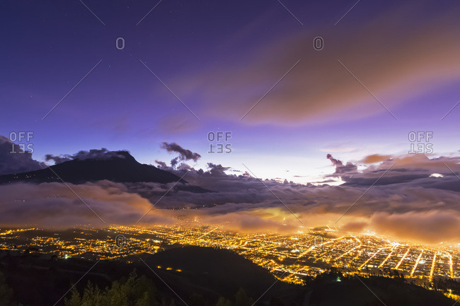 Imbabura Volcano, Blue hour and fog